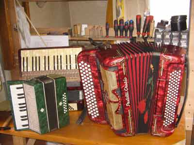 Different types of accordions (italian buttons, german piano et children one)