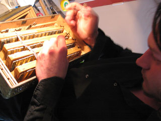 Antoine tuning a diatonic Hohner accordion